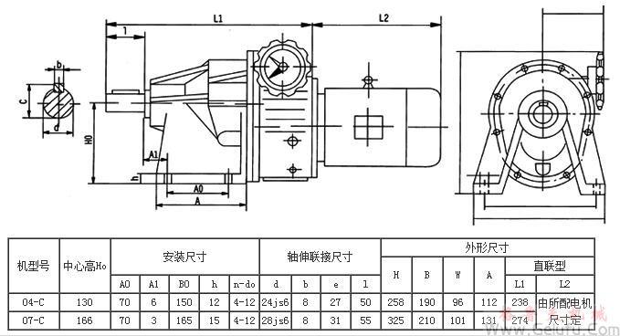 MBWY-CT陶机专用减速机外型及安装尺寸